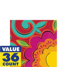 Fiesta Caliente Beverage Napkins 36ct - Clearance - Fiesta Theme Party - Theme Parties - Categories - Party City