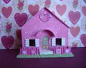 Valentine Putz style Village Glitter House