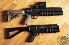 "GUNS UP FIREARMS!  9"" stand alone folding HAVOC launcher  12"" stand alone non folding HAVOC launcher."