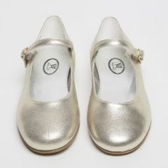 This strap shoe with a buckle is super easy to fit and incredibly pretty and most perfect for parties, Christmas and weddings in a variety of versatile metallics and cream leather. Lining beautiful in silver. Winter Shoes, Summer Shoes, Girls Wedding Shoes, Parsons Green, Shoe Polish, Metallic Shoes, Bright Pink, Soft Leather, Boots