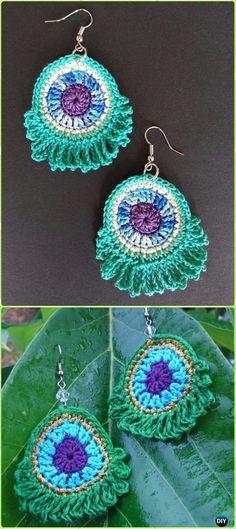 Crochet Peacock Earring Free Pattern-Crochet Peacock Projects Free Patterns