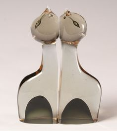 Pair Cenedese Murano Art Glass Cat Bookends | Antique Helper