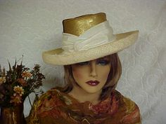 Straw fedora hat with gold metallic sequined crown by designer2