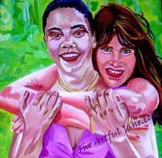These two friends at a spring cookout, taking a moment to laugh, smile and give a hug! Very full of life and colorful as they are, their fun friendship comes out in the painting. Having a great...