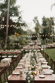 Outdoor al fresco wedding decor: http://www.stylemepretty.com/california-weddings/agoura-hills/2016/10/01/romantic-dusk-backyard-wedding/ Photography: Meghan Kay Sadler - http://www.mksadler.com/
