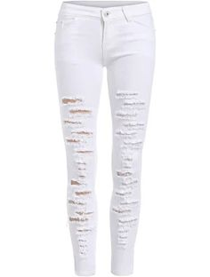 SheIn offers White Skinny Ripped Denim Pant & more to fit your fashionable needs. White Ripped Skinny Jeans, Ripped Knee Jeans, Ripped Jeggings, White Distressed Jeans, Torn Jeans, White Denim Jeans, Destroyed Jeans, Ripped Denim, Super Skinny Jeans