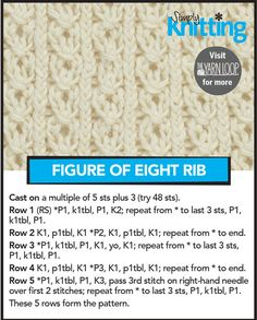 Free Knitting Pattern: Figure of Eight Rib Stitch Rib Stitch Knitting, Lace Knitting Stitches, Knitting Basics, Simply Knitting, Cable Knitting, Easy Knitting Patterns, Knitting Charts, Free Knitting, Stitch Patterns