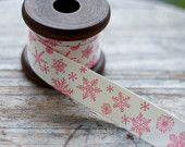 Vintage Christmas Cotton Ribbon Label - Christmas Snowflakes Label Cotton Sewing Tape - Christmas Ribbon