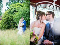 Bride and groom on vintage bus