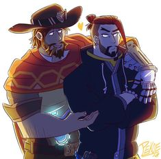 The cowboy and the archer ;) . . (Uhhh characters belong to blizzard not me) . . #art #artist #artistoninstagram #instaart #instagood #fanart #digitalart #drawing #illustration #overwatch #mchanzo #mccree #hanzo #gay #myart
