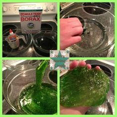 Kids will love this St. Patrick's Day science activity! DIY: 5 minute Project~Green Slime!!