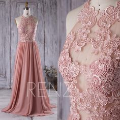 2016 Dusty Rose Bridesmaid Dress, Lace Transparent Wedding Dress, Long A Line Prom Dress, Women Formal Dress Floor Length (X002)
