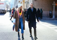 Pernille Teisbaek in an Altuzarra sweater, Saks Potts coat, and Chanel bag, and Justin O'Shea