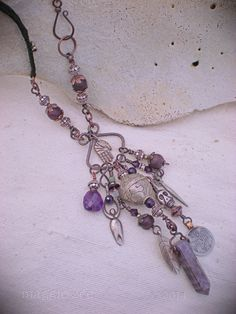 Shaman Protective Amethyst Amulet Necklace by maggiezees on Etsy, $245.00
