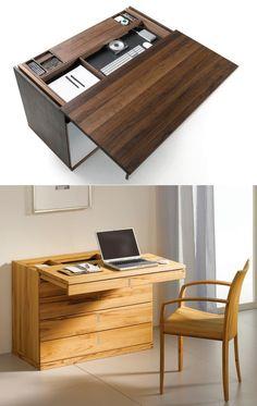idée intéressante de fabriquer un bureau en bois avec tiroirs