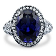 **$66.00  BERRICLE Sterling Silver Oval Simulated Blue Sapphire Cubic Zirconia CZ Halo Art Deco Cocktail Ring | Amazon.com