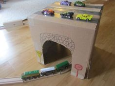 Recycled Box Train Station - Green Kid Crafts