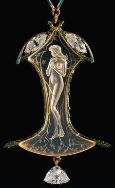 Art Nouveau - RENÉ LALIQUE, c.1905 signed Pendant Necklace. Rock crystal/ enamel/ diamond/ gold. Sold: 312,750 EUR. From: sothebys.com::
