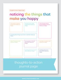 This is my first set in this series, so of course I started with happy things. From noticing the things that make you happy to understanding them to doing them more often, each page in this set is designed to help you transform your thoughts into action. Counseling Activities, Art Therapy Activities, Self Care Activities, School Counseling, Therapy Worksheets, Journal Writing Prompts, Coping Skills, Social Skills, Life Skills