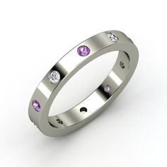 Platinum Ring with Amethyst & Diamond I would like this with Sapphires
