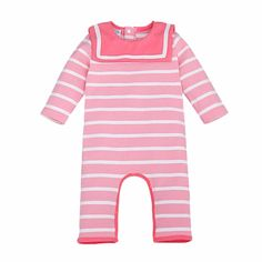 Stripe Baby Clothing Baby Romper Brand Cotton Long Sleeve Jumpsuits One  Pieces Overall Kids Sailor Collar Toddler Costume Autumn b6387306c