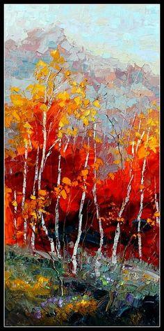 'Crimson Gaze' ~ oil painting by artist Troy Collins Landscape Art, Landscape Paintings, Art Paintings, Wow Art, Tree Art, Amazing Art, Watercolor Art, Modern Art, Art Photography