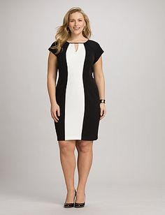 Plus Size Two-Tone Colorblock Dress