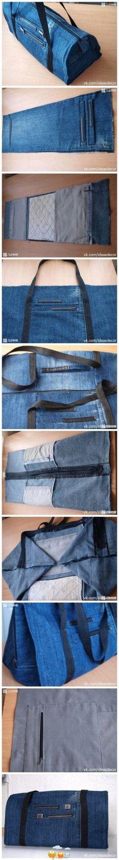 tasche patchwork jeans upcycling von bygretchen auf. Black Bedroom Furniture Sets. Home Design Ideas