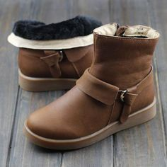 Women's Warm and Slip Resistant Genuine Leather Ankle Boots