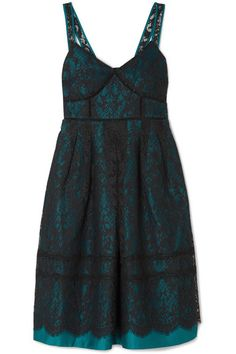 Draper James | Betty corded lace and duchesse-satin midi dress | NET-A-PORTER.COM