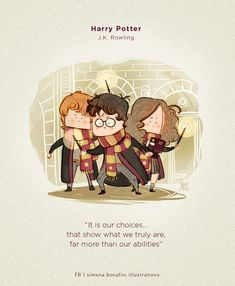 The Golden Trio by Simona Bonafini Classe Harry Potter, Harry Potter Drawings, Harry Potter Hermione, Harry Potter Quotes, Harry Potter Love, James Potter, Harry Potter Universal, Harry Potter World, Draco Malfoy