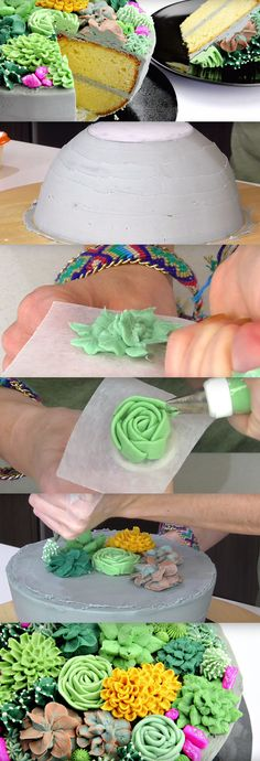 Cake that looks like a Succulent Planter - Cool! Cake that looks like a Succulent Planter - Pretty Cakes, Cute Cakes, Beautiful Cakes, Amazing Cakes, Cake Decorating Techniques, Cake Decorating Tutorials, Cookie Decorating, Super Torte, Decoration Patisserie