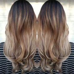 Wonderful transition into ombré on dark hair!