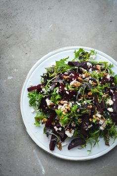 Beetroot and Rocket Salad with Feta and Walnuts. Who wouldn't feel great after eating this!!!