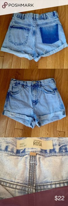 """TOPSHOP Moto Rosa Jean shorts Distressed, high waisted (front rise is 11"""")jean shorts, great preloved condition. TOPSHOP Shorts Jean Shorts"""