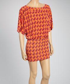 Love this Orange & Pink Abstract Drop-Waist Dress on #zulily! #zulilyfinds