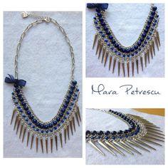 Blue handmade statement necklace