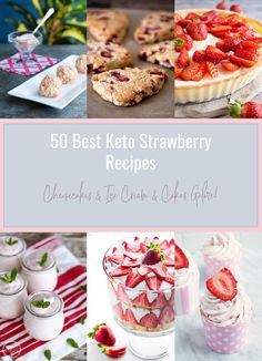 It's finally strawberry season and we've got all of your low carb strawberry dessert needs covered with the 50 Best Keto Strawberry Recipes I could find! This collection of the best keto strawberry Sugar Free Strawberry Jam, Strawberry Fluff, Strawberry Rhubarb Crumble, Strawberry Desserts, Strawberry Shortcake, Low Carb Sweets, Low Carb Desserts, Best Low Carb Recipes, Keto Recipes