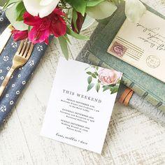 Wedding Agenda Card Printable Wedding Timeline Letter Events