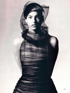 """Modern Magic At The Paris Couter"", Harper's Bazaar, March 1997  Photographer : David Sims  Model : Linda Evangelista"