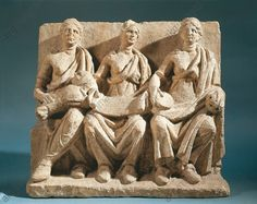 Relief depicting Mother Goddesses, imperial age 1st–2nd Century A.D., France, Burgundy, Chatillon Sur Seine, Musee Du Chatillonnais (Archaeological Museum), Gallo-Roman art