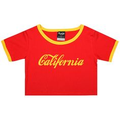 California Ringer Tee Crop Top T Shirt Womens Girl Funny Fun Tumblr... ($17) ❤ liked on Polyvore featuring tops, t-shirts, black, sweater vests, sweaters, women's clothing, sweater vest, grunge t shirts, black crop tee and slim fit t shirts