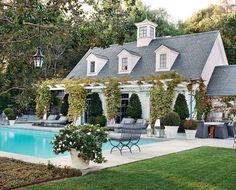 Beautiful pool house and pool. Beautiful pool house and pool. Outdoor Spaces, Outdoor Living, Pool Houses, Cabana, Architecture, My Dream Home, Exterior Design, Future House, Beautiful Homes