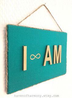 I AM sign I am infinity sign Boho wall decor by HavenOfHarmony Sign I, Infinity, My Etsy Shop, Wall Decor, Boho, Unique Jewelry, Handmade Gifts, Vintage, Home Decor