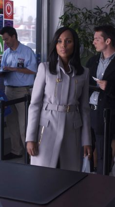 """Gucci"" light grey wool coat worn by Olivia Pope (Kerry Washington) in Scandal, season 4, episode 1."