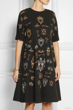 Dolce & Gabbana Printed stretch-wool crepe dress available at Net-a-Porter for $3,497