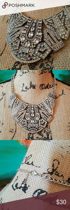 Art Deco Bib Statement Necklace Beautiful design. Worn once. No signs of wear.  It is pictured with different outfits in my listings!  Can be worn with a nice dress or can bring some life to a tee and jeans!! Forever 21 Jewelry