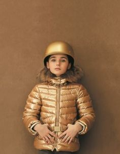 Gold coloured hooded padded jacket #FW15 #fall #winter # campaign #kidsfashion #gold #jacket