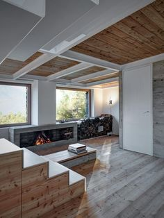 Mountain house design concrete fireplace wooden ceiling
