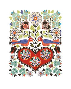 Hearts & Birds Print - a colorful take on the classic form of Folk Art called Fraktur